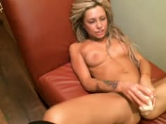 Hot Blonde Play Dildo Nicely