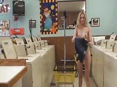 Cute Girl Naked in Public Laundromat