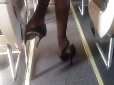 Candid Airplane Feet Pantyhose Shoeplay