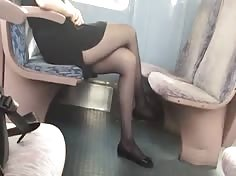 Beautiful legs with pantyhose and feet in train 7