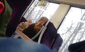 Flashing hot blonde in the train