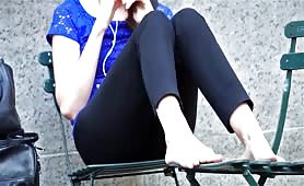 Candid Feet Soles Outdoors Brunette