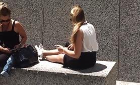 Cute blonde college girl takes a break