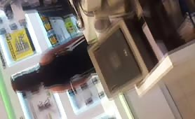 Nice Greek brunette with round ass at the phone store