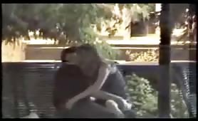 Amateur voyeur caught outdoor bench fingering
