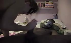 Masked couple - HUGE black cock sucked n fucked