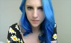 Blue Haired Girl in Flowers Plays with Tits