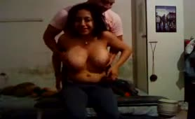 Busty Girlfriend with Huge Brown Nipples gets Fondled