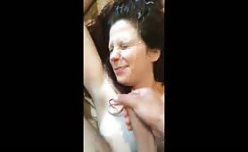 Young woman getting covered in hot cum