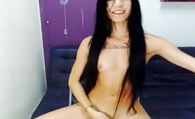 Ladyboy Small Tits Plays with Cock on Cam