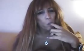 Tranny with Dildo in Ass Strokes Her Cock
