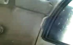 Boob press in car