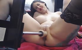 Hot Babes Sharing Dildo Fucking Machine