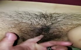 Fingering Wifes Hairy Pussy