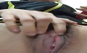 Asian Girl Fingers Hairy Pussy