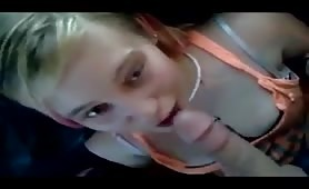 Blonde College Girl Sucks Cock on Camera