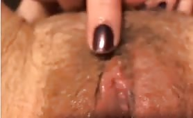 Closeup Rub and Toying of Hairy Pussy
