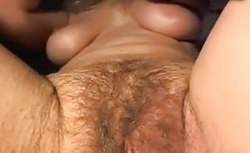 Upclose Painted Nails Rubs Hairy Pussy and Clit