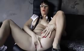 Hot Teen Masturbation on the Chair and Squirt