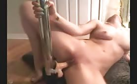 Blonde Fucks Dildo on Stripper Pole to Orgasm