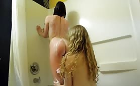 Teen Lesbians Shower Together in Hotel Room