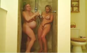 Two Lesbian Blondes One Pregnant Shower Together