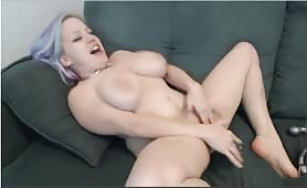 Busty Little Woman Cums with Dildo