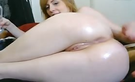 Pail Blond Round Ass Shaved Pussy Fingers Ass