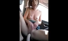 Cute babe gets off in car