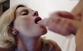 Jerks off His Cock in Girls Mouth
