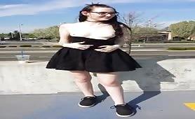 Goth Girl Flashing in Public