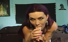 Hot Gothic Babe Masturbates with Dildo