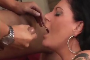 Brunette Getting A Shot Of Cum In Her Mouth